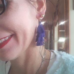 Purple 3 layer tassle earrings nwt